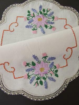 Superb Hand Embroidered Centre - Anemones, Roses & Lavender - Crocheted Edging