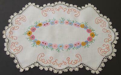 Gorgeous Hand Embroidered Centre - Central Feature of Impatiens - Crochet Edge