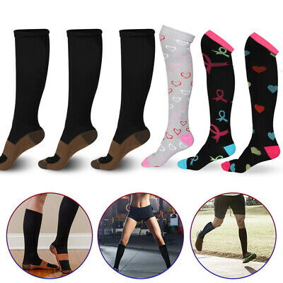 1/3/5Pair Copper Compression Socks 20-30mmHg Graduated Support Mens Womens S-XXL