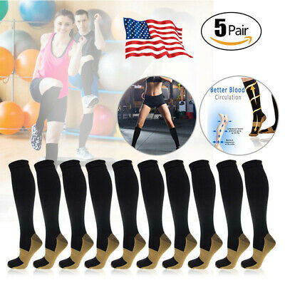 (5 Pairs) Copper Infused Compression Socks 20-30mmHg Graduated Mens Womens S-XXL