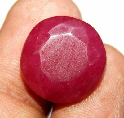 Lab-created Faceted Dyed Ruby Gemstone 13 ct 17x17mm F645