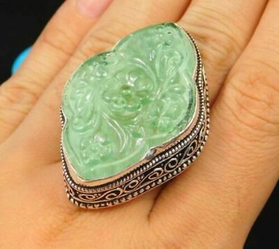 Charming Chalcedony Silver Carving Jewelry Ring Size 9.50 JC1701