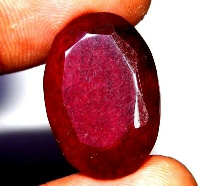 Lab-created Faceted Dyed Ruby Gemstone 25 ct 25x16mm J33