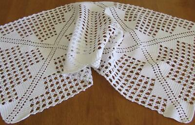 Beautiful White Vintage Hand Crocheted Table Runner - 80 x 32 cm