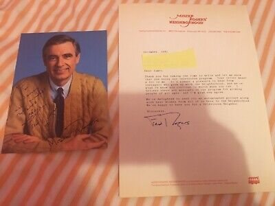 RARE 1991 MISTER ROGERS FRED ROGERS Signed Photo And Written Signed Letter