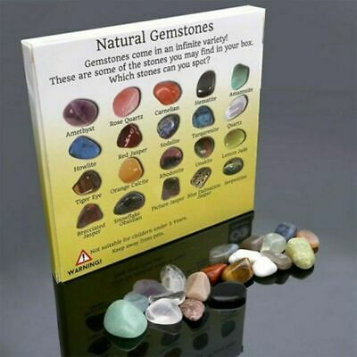 20pc Healing Reiki Polished Chakra Stone Display Crystal Gemstone Collection Set