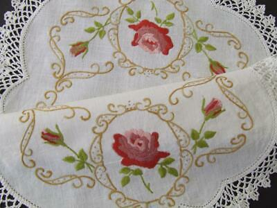 Stunning Cameo Rose - Hand Embroidered Vintage Centre - Crocheted Edging