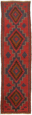 """Hand-knotted Carpet 2'4"""" x 9'0"""" Traditional Vintage Wool Rug"""