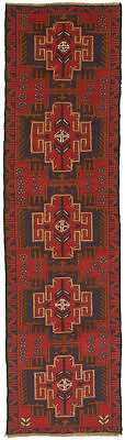 """Hand-knotted Carpet 2'5"""" x 9'4"""" Traditional Vintage Wool Rug"""