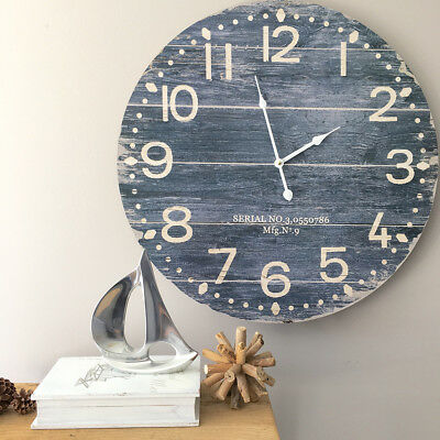 Large 58cm Blue Plank Look Wall Clock/French Provincial/Hampton's/Dark Blue