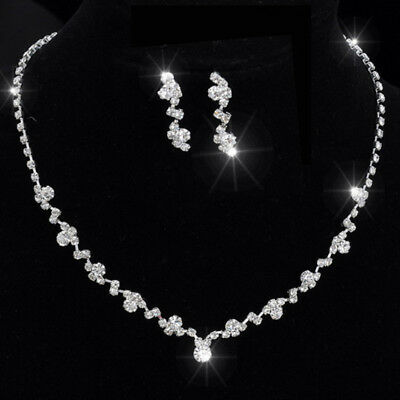 Casual Bridesmaid Crystal Necklace Earrings Set Wedding Bridal Jewellery Gift