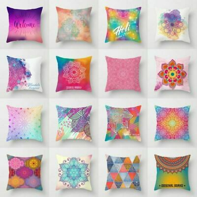 Colorful Ethnic Polyester Throw Waist Cushion Cover Home Sofa Decor Pillow Case