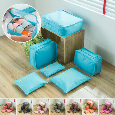 6Pcs Travel Storage Bag Oxford Clothes Packing Pouch Cube Luggage Organizer Set