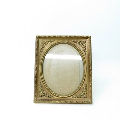 Vtg 1973 Ornate Gold Gilt Faux Wood Oval Opening 8X10 Picture Frame 70's