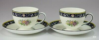 2 Wedgwood Runnymede Blue W4472 Pattern Bone China Footed Cups & Saucers Lot A
