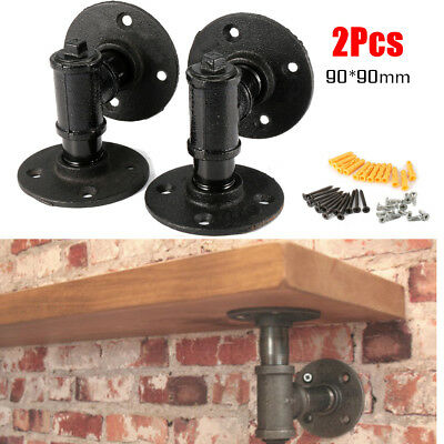 2Pcs 90mm Retro Industrial Iron Pipe Shelf Brackets Wall Mounted Shelf