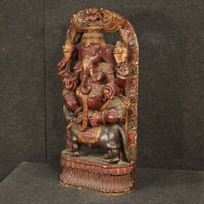 Sculpture Statue Indian Wooden Antique Style Divinity Art Subject Altar 900