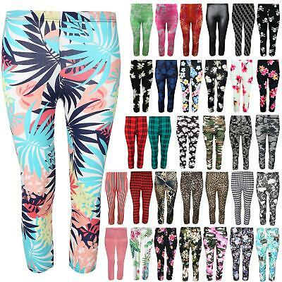 Plus Size Womens Floral Printed 3/4 Length Stretchy Trousers Capri Leggings Pant