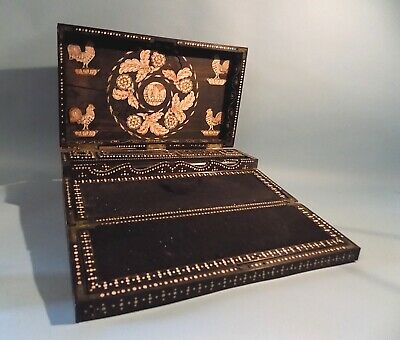 Antique Anglo Indian Colonial Quillwork and Bone Inlaid Writing Box/Slope.