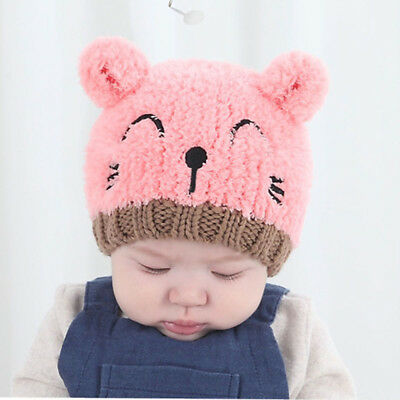 Bear Girls Boy Crochet Fashion Toddler Warm Winter Baby Knitted Hat Kids 1pcs