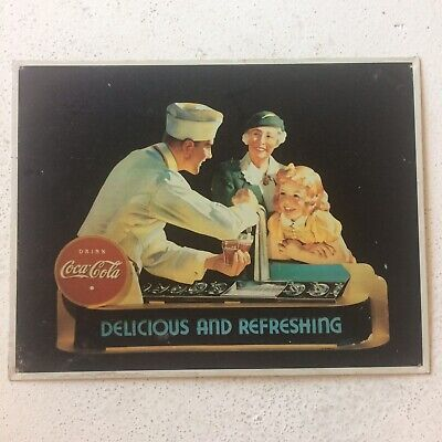 Vintage Drink Coca Cola Old Time Soda Fountain Metal Sign