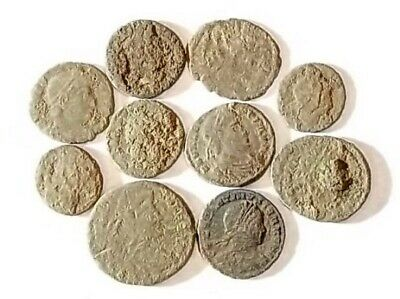 10 ANCIENT ROMAN COINS AE3 - Uncleaned and As Found! - Unique Lot 21704