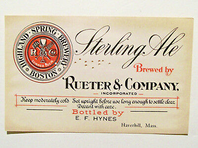 HIGHLAND SPRINGS BREWERY Sterling Ale - Clean PreProhibition Label - BOSTON MASS