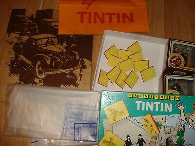 Lot objets TINTIN -12 TAMPONS  + 2 FIGURINES +sacs