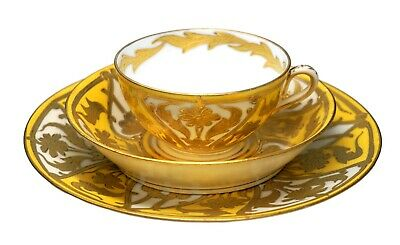 Austrian Hand Painted Heavy Gold Yellow Porcelain Trio Cup Saucer and Plate