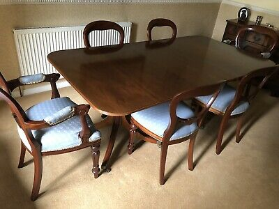 William Tillman 8ft solid mahogany twin pedestal dining table + 6 chairs