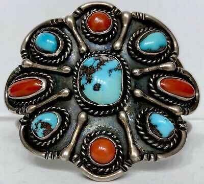 Old Vintage Native American Navajo Sterling Silver Turquoise Coral Cuff Bracelet