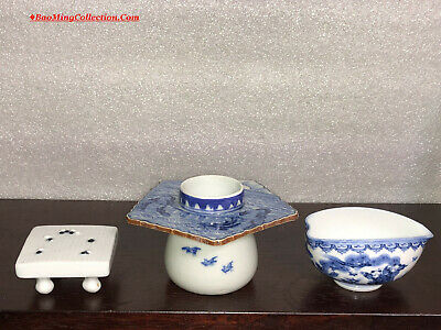 Antique Japanese Miscellaneous Hirado Blue & White Porcelain Tea Bowl Cup Stand