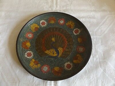Small Vintage Indian Plate Charger Cold-Painted  22 Cm In Diameter Of Peacock