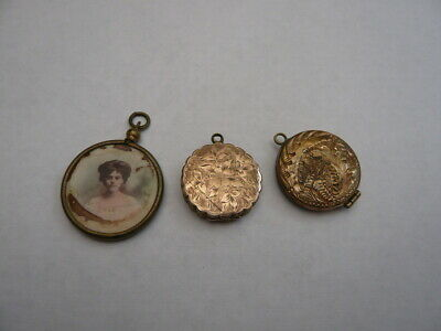 3 X Antique Edwardian Old Rolled Gold Necklace Pendant Photo Picture Locket A/F