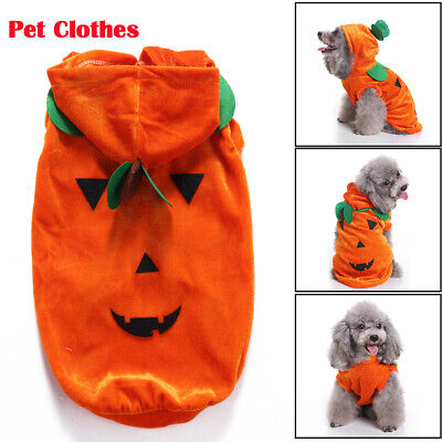 Halloween Dog Cat Clothes Draping Pumpkin Hoodie Jacket Cosplay Fancy Costume