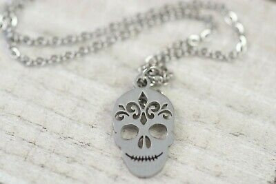 """SUGAR SKULL Day of the Dead Stainless Steel Silve Necklace 15.74"""" w/ 2"""" Extender"""