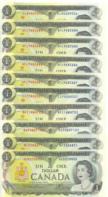 Bank of Canada 1973 $1 One Dollar Lot of 10 Notes Average AU $10 Face