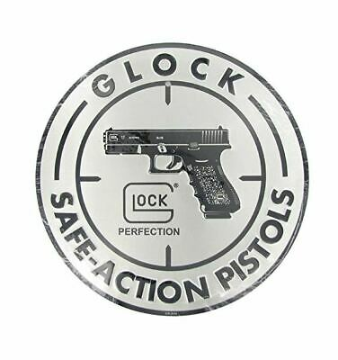 Glock Tin Sign 12 Inch Diameter Handgun And Ammo Metal Poster Wall Art