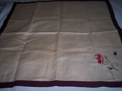 original tag vintage pure linen tablecloth, lovley embroidered flowers
