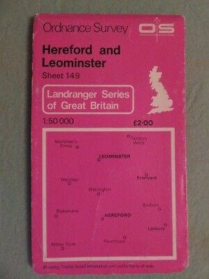 OS Map of HEREFORD & LEOMINSTER sheet 149 1:50 000 first series
