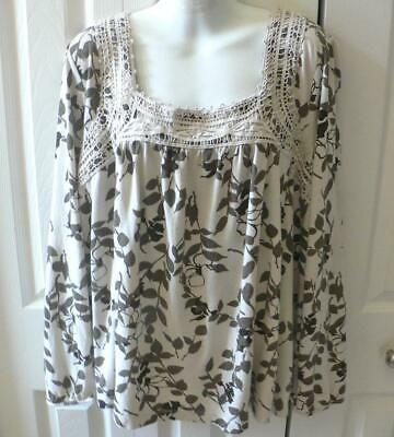 3X SONOMA BEIGE AND BROWN PEASANT LOOK with LACE LONG SLEEVED KNIT TOP