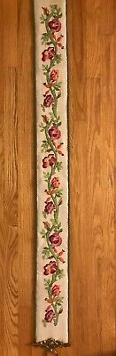 """Elsa Williams Crewel Embroidery Bell Pull Jacobean Floral Completed 59x5.5"""" Bras"""