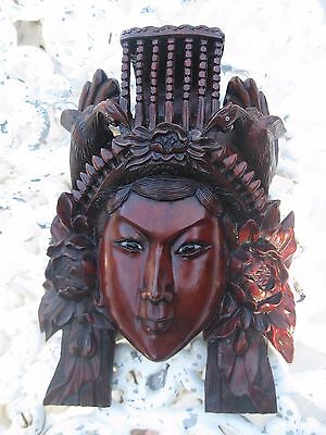 Museum Quality Chinese Art Rosewood Hand Carved Mask Empress birds Inlaid Eyes