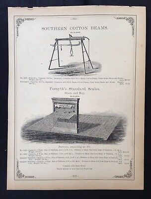 1888 Vintage Simmons Hardware Catalog Pg ~ Forsyth Stock Hay Scales  Cotton Beam