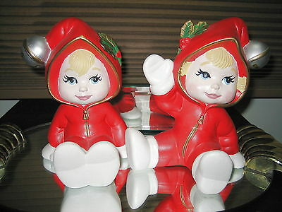 Gorgeous Hand Painted Sweet Tots Winter Babies OOAK Set of 2 Red Snow Suit Bells