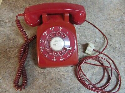 Vintage Red Bell System Western Electric Rotary Desk Phone Tested Working Ready