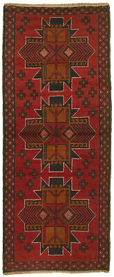 """Hand-knotted Carpet 2'5"""" x 6'3"""" Traditional Vintage Wool Rug"""