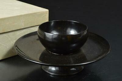 S9367: Japanese Wooden Lacquer ware Tenmoku TEABOWL STAND/tray