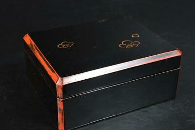 S9370: Japanese Wooden Lacquer ware CONTAINER for article Accessories Case Box