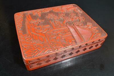 S9907: Japanese Old Wooden Lacquer ware INKSTONE CASE Box Calligraphy tool.